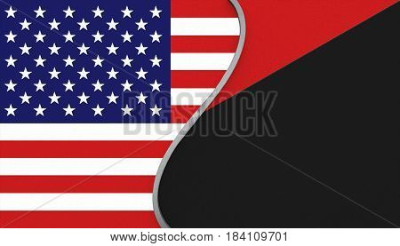 3D illustration. USA flag and an Antifa flag