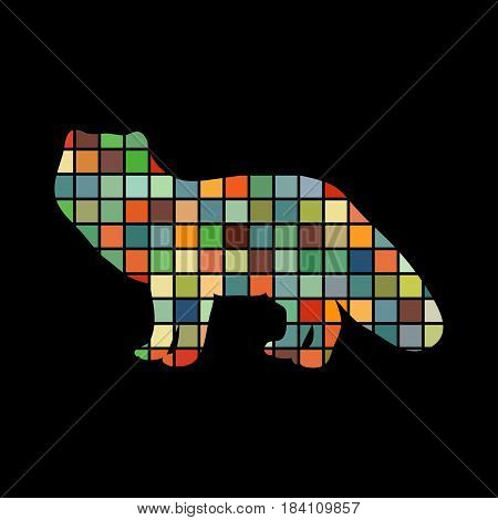 Fox arctic black silhouette animal. Vector Illustrator.