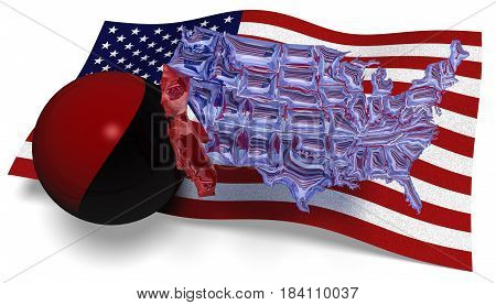 3D illustration. See through map of America against a USA flag and a Antifa flag in a ball hitting California loose of the rest of America