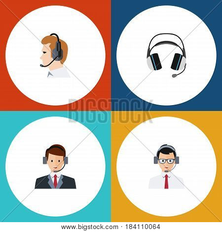Flat Telemarketing Set Of Telemarketing, Help, Hotline And Other Vector Objects. Also Includes Headphone, Secretary, Help Elements.