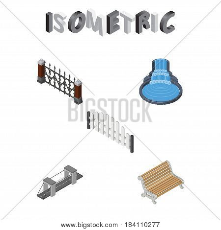 Isometric City Set Of Highway, Fence, Garden Decor And Other Vector Objects. Also Includes Wooden, Hedge, Metal Elements.
