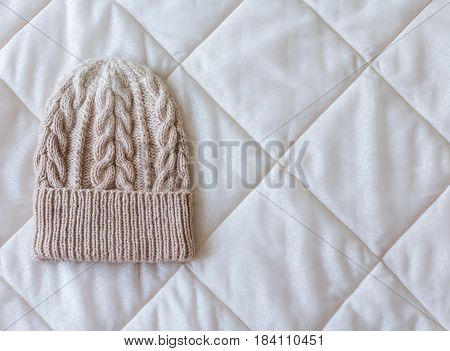 Beige White Gradient Hat Wool Knitted Manually