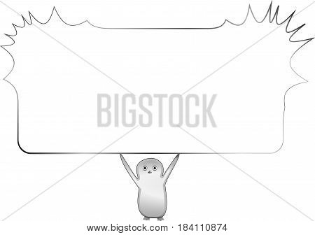 White card with frame for the text in the form of a girl silhouette. Frame for text. Vector frame for text. Frame for text of sketches of girls. Sketch of girls. Design frame for text