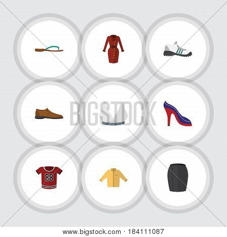 Flat Clothes Set Of Stylish Apparel, Banyan, Male Footware And Other Vector Objects. Also Includes Uniform, Footware, Woman Elements.