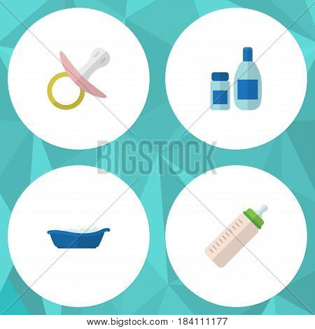 Flat Baby Set Of Bathtub, Nipple, Feeder And Other Vector Objects. Also Includes Pacifier, Soothers, Bottle Elements.