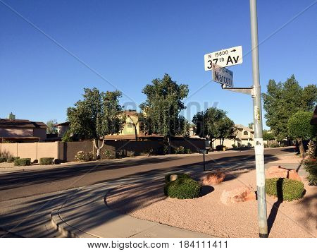 Intersection Sign at West Marconi and North 37th Avenue in residential area Phoenix AZ