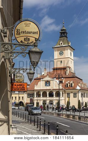 Brasov Romania April 22 2017: Main Square landmark with Council House in medieval center of Brasov Transylvania.