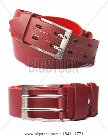 Leather belt with buckle, isolated on white background.