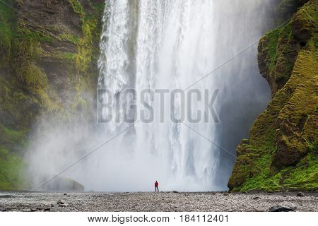 Tourist in a red jacket looks at a huge waterfall Skogafoss. A famous tourist attraction of Iceland