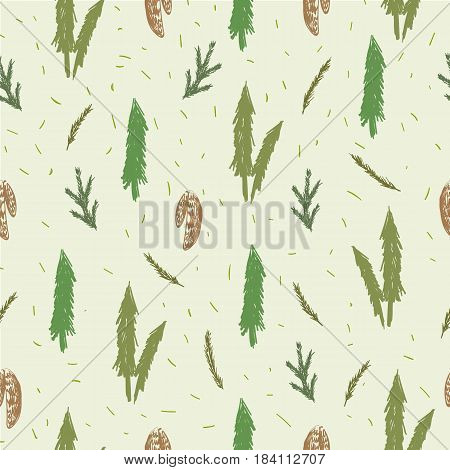 Seamless pattern with fir, spruce, cones branches