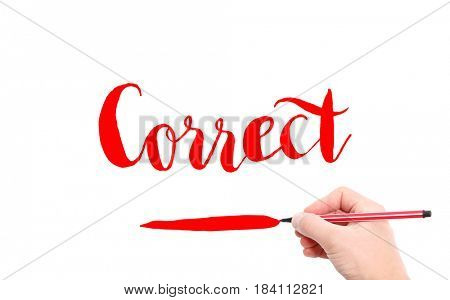 The word of Correct written by hand on a white background