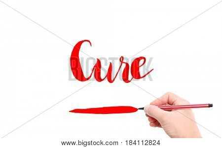 The word of Cure written by hand on a white background