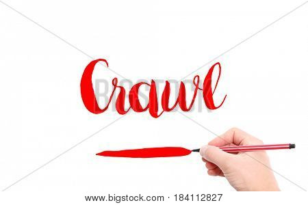 The word of Crawl written by hand on a white background