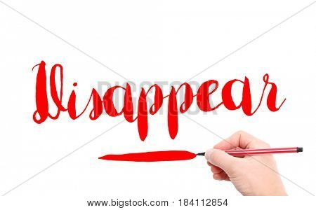 The word of Disappear written by hand on a white background