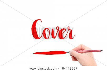 The word of Cover written by hand on a white background