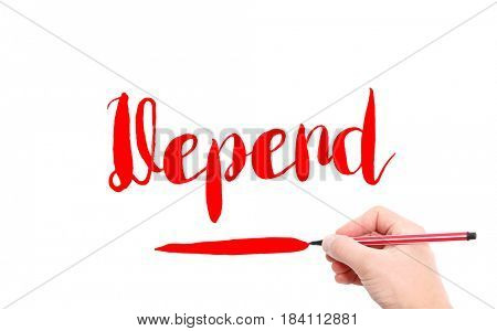The word of Depend written by hand on a white background