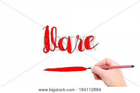 The word of Dare written by hand on a white background