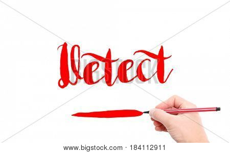 The word of Detect written by hand on a white background