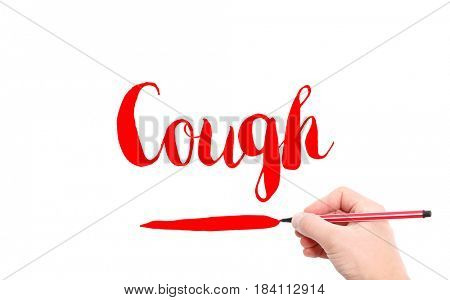 The word of Cough written by hand on a white background