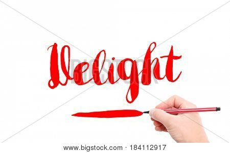 The word of Delight written by hand on a white background
