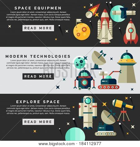 Set of vector flat design flyers and headers of space icons and infographics elements. Space equipment vector illustration. Web banner