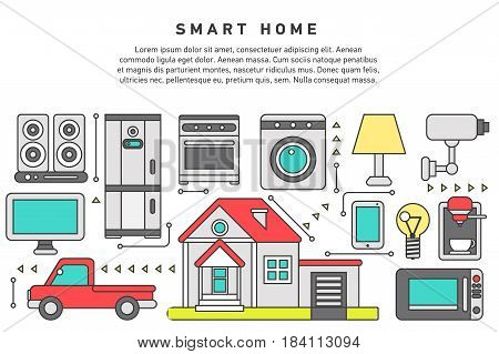 Smart home iot internet of things control comfort and security, automation system, smart house climate control panel on mobile device. Flat design graphic hero image concept, website elements layout.