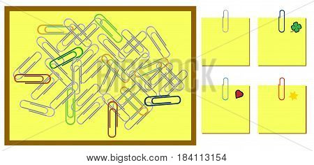 Set of office paper clips as background paper clip holds paper