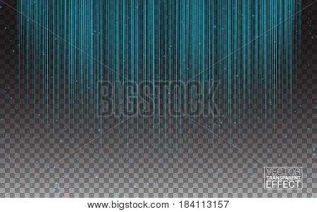 Blue Neon Light Flash Stripes and Sparkling Rays Traces. Glowing Light Lines. Vector of light glow linear effect on transparent background.