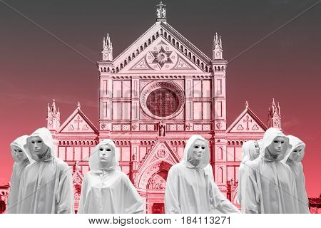 priestess and sorcerers they celebrate, magic ritual in the church Santa Croce from Florence,  with magical white mask occult Masonic Lodge