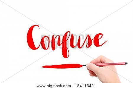 The word of Confuse written by hand on a white background