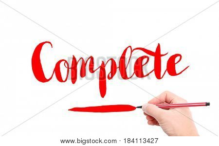 The word of Complete written by hand on a white background