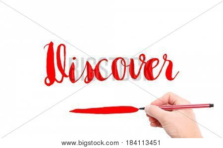 The word of Discover written by hand on a white background