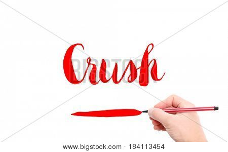 The word of Crush written by hand on a white background