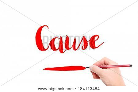 The word of Cause written by hand on a white background