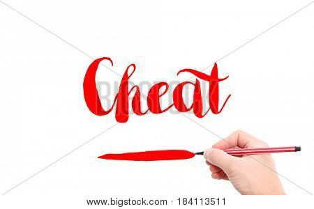 The word of Cheat written by hand on a white background