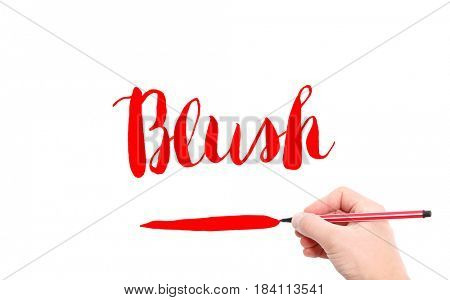 The word of Blush written by hand on a white background