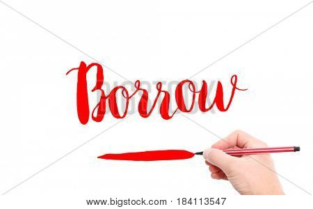 The word of Borrow written by hand on a white background