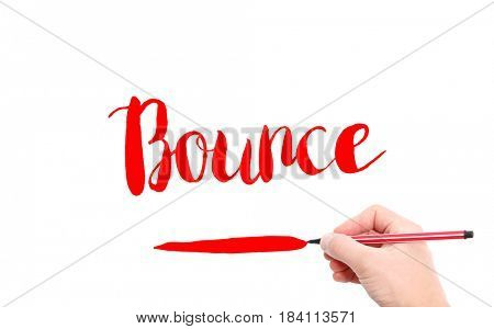 The word of Bounce written by hand on a white background