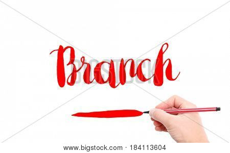 The word of Branch written by hand on a white background