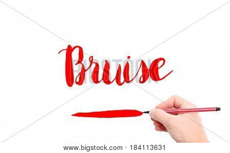 The word of Bruise written by hand on a white background