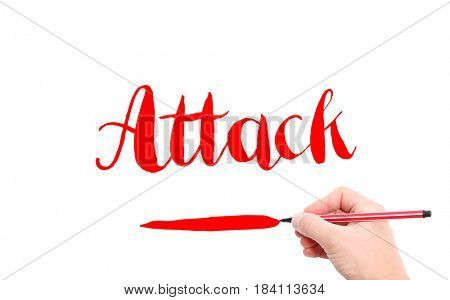 The word of Attack written by hand on a white background