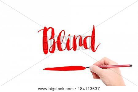 The word of Blind written by hand on a white background
