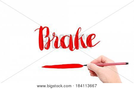 The word of Brake written by hand on a white background