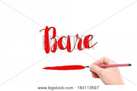 The word of Bare written by hand on a white background