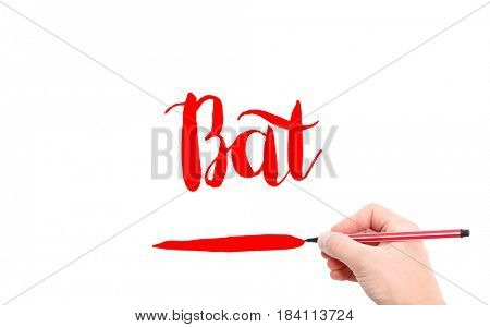 The word of Bat written by hand on a white background