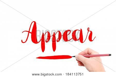 The word of Appear written by hand on a white background