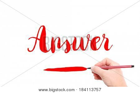 The word of Answer written by hand on a white background