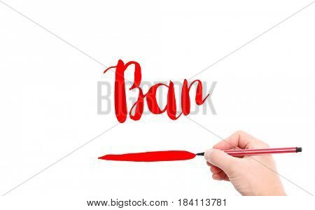 The word of Ban written by hand on a white background