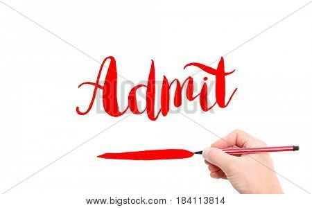 The word of Admit written by hand on a white background