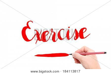 The word of Exercise written by hand on a white background